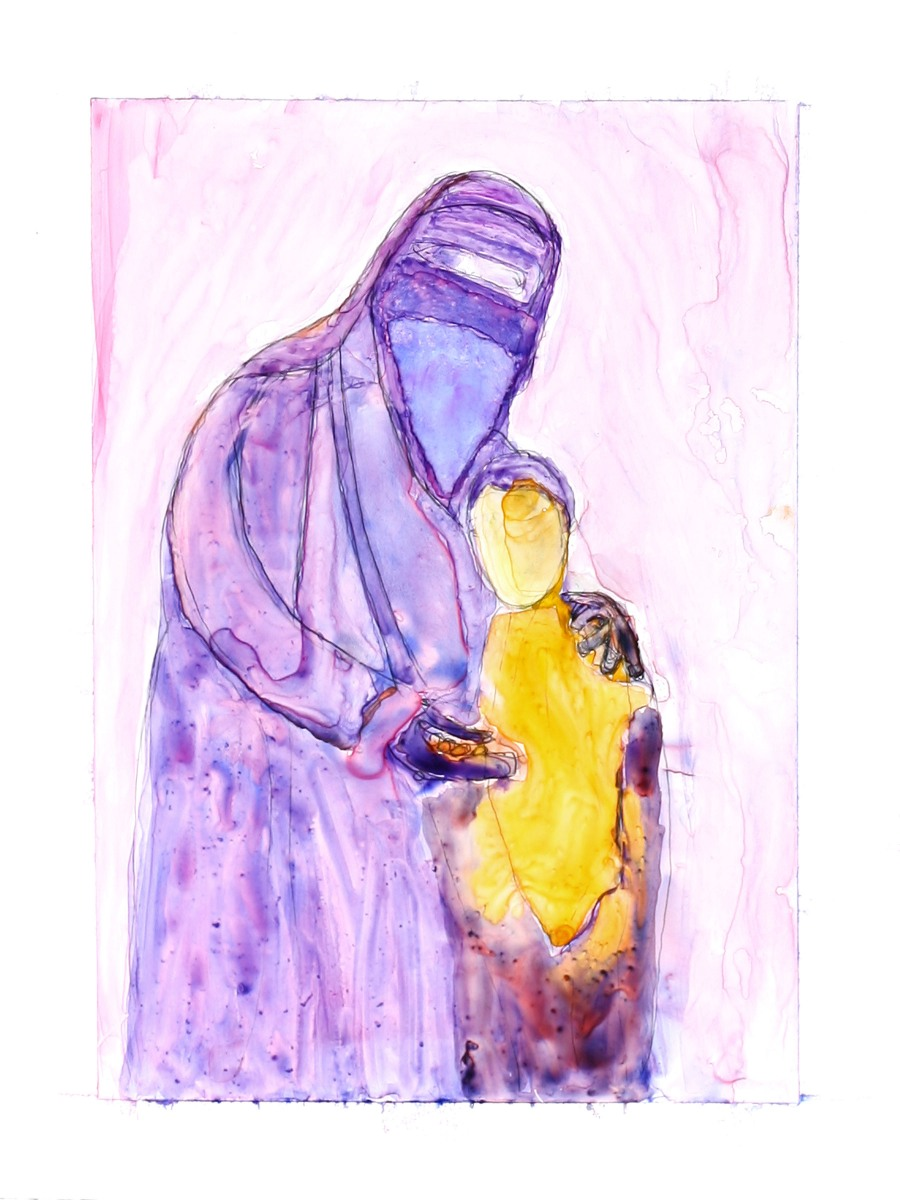 Egyptian Women and Child (watercolor on yupo)