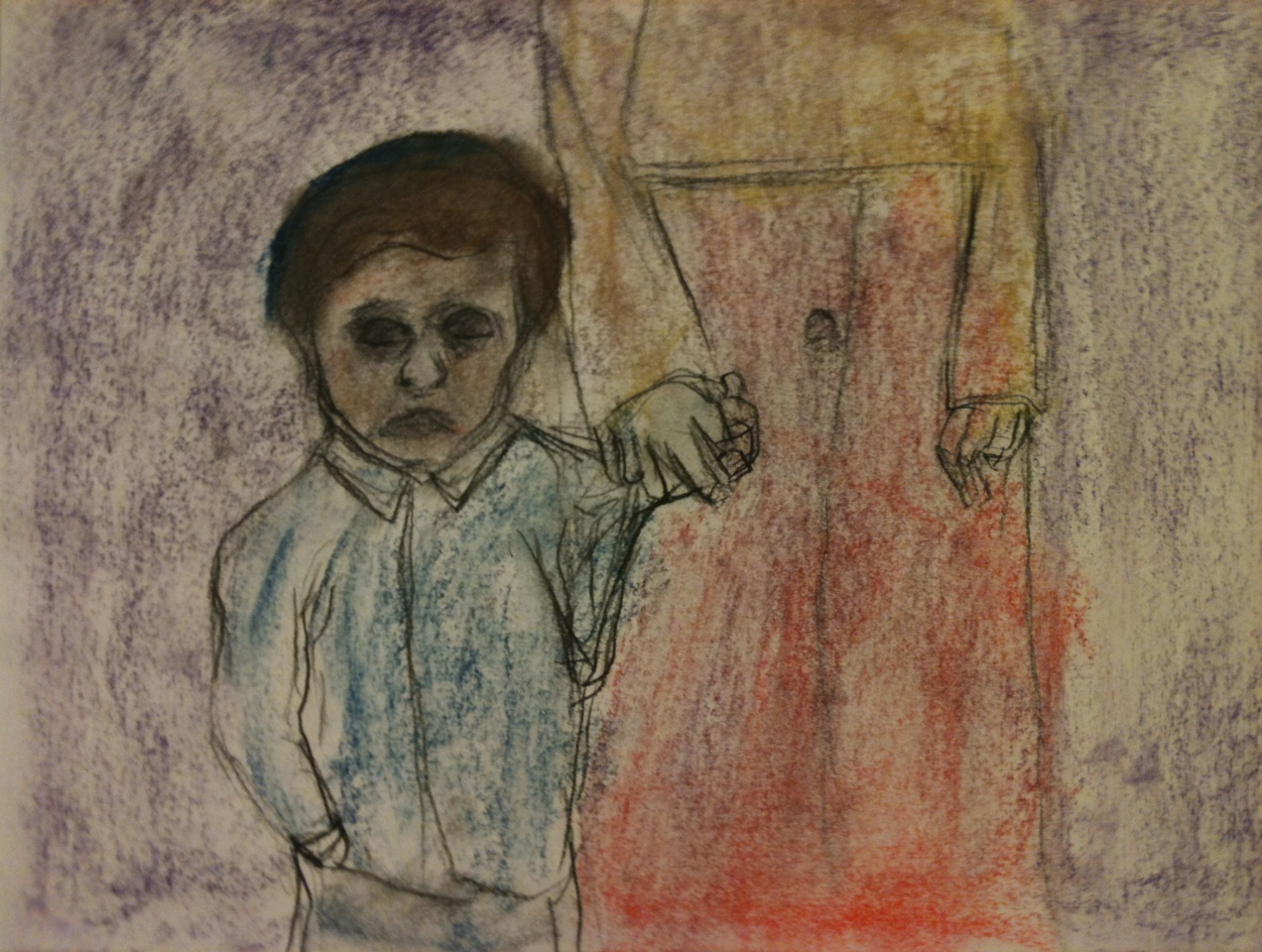 Child in Shtetl (pastel on paper)
