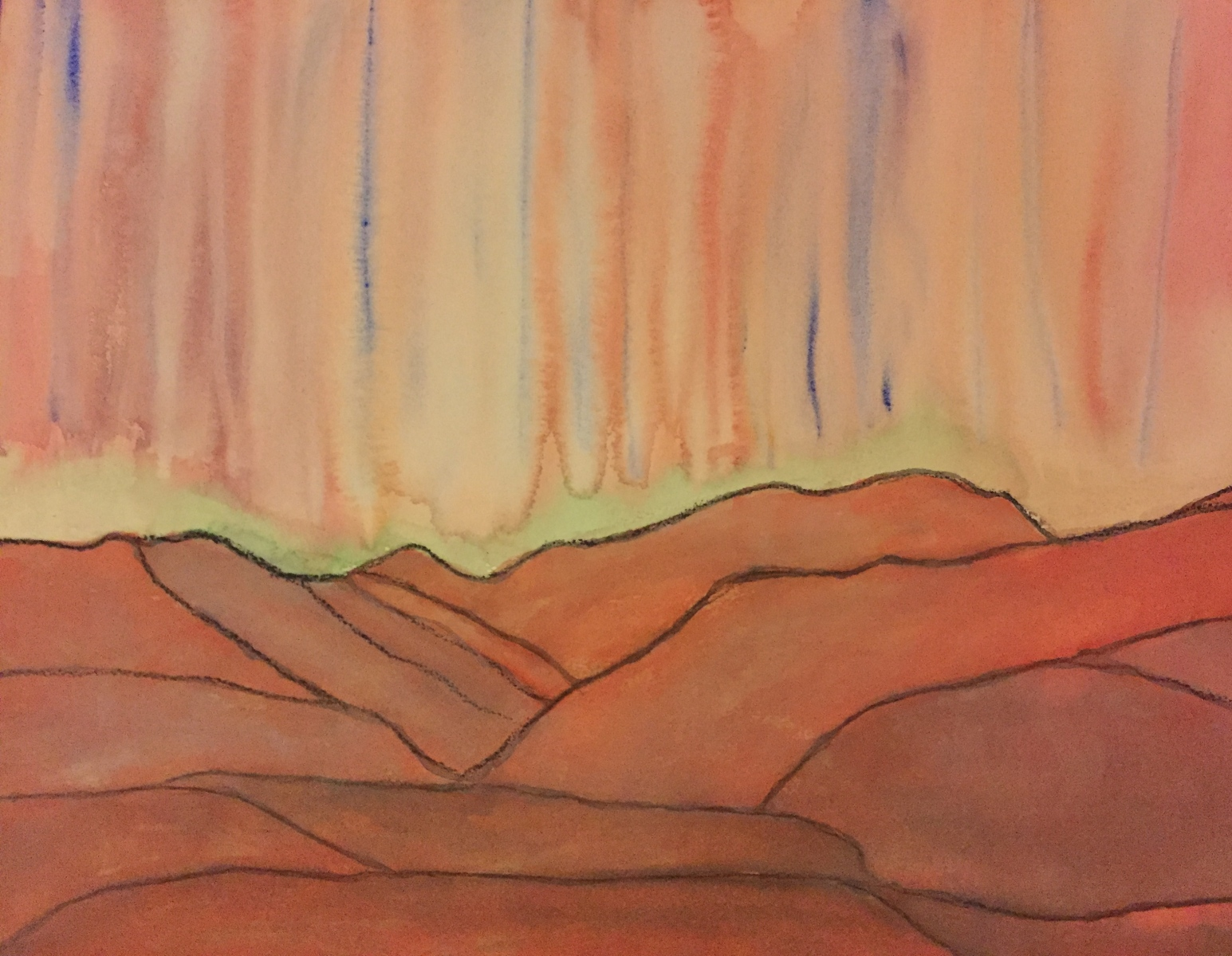 Melting Hills (gouache on watercolor board)