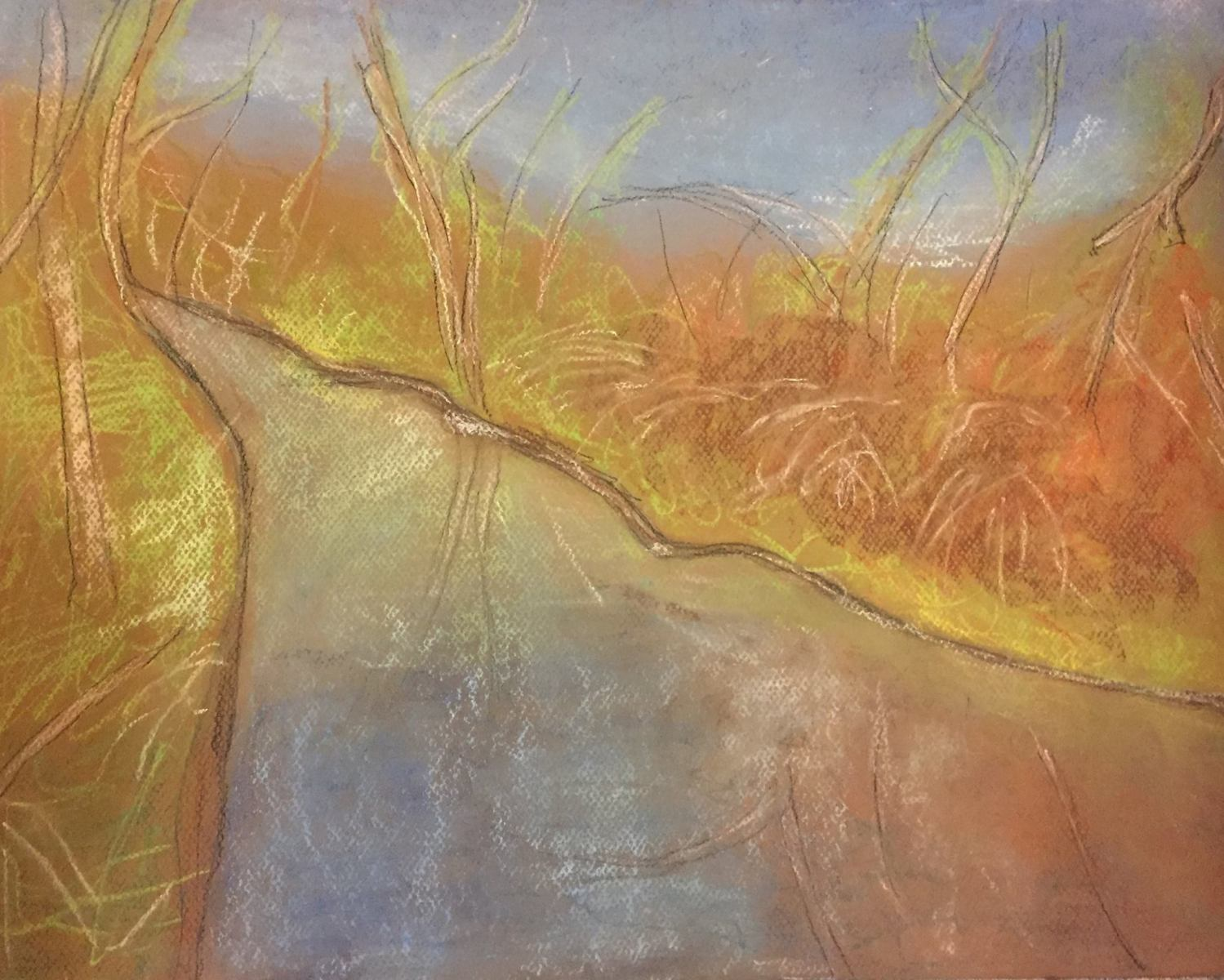 Rivulet After the Rain (pastel on paper)