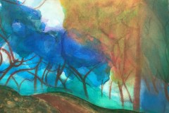 Late Fall at Descanso Gardens (acrylic, inl and pastel on canvas)
