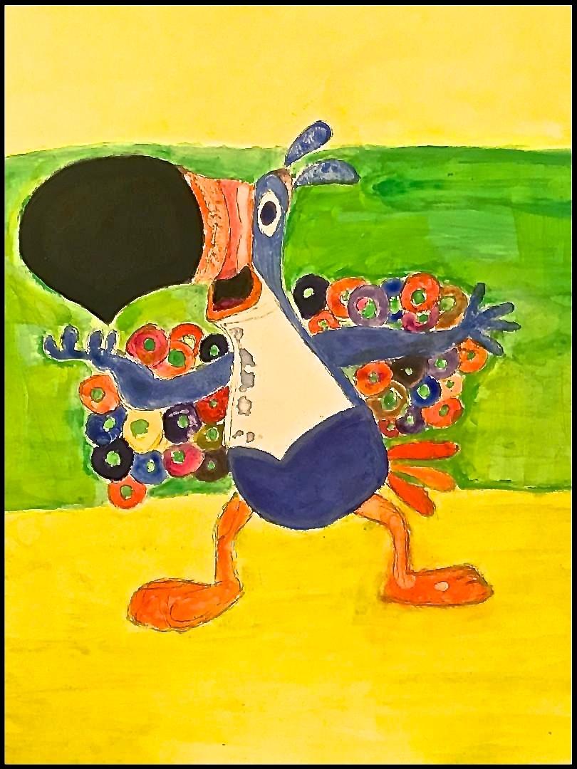 Toucan (gouache on canvas board)